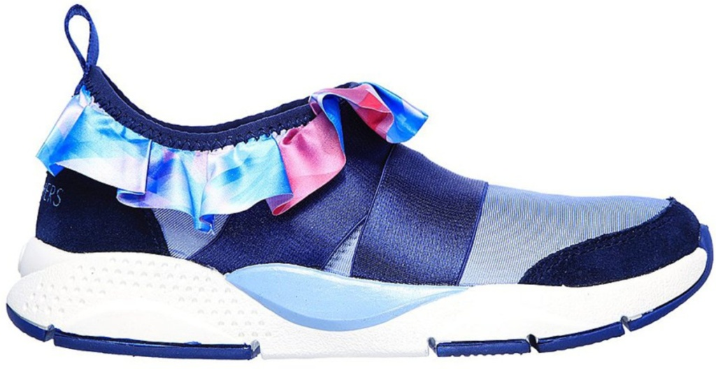 skechers kids blue themed slip-on shoes with ruffle