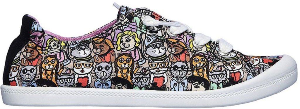 skecher lace-up shoes with cat theme