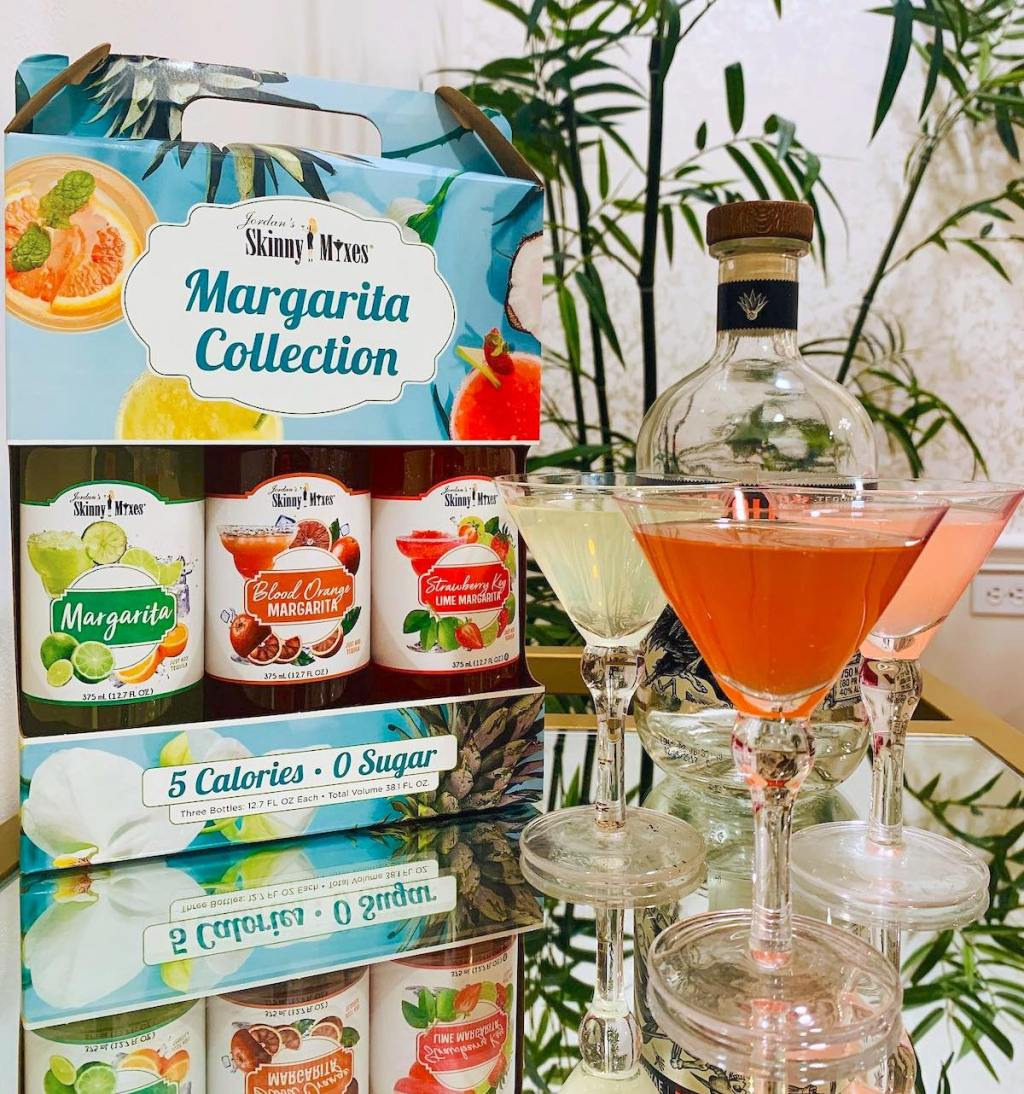 skinny girl margarita collection with martini glasses filled