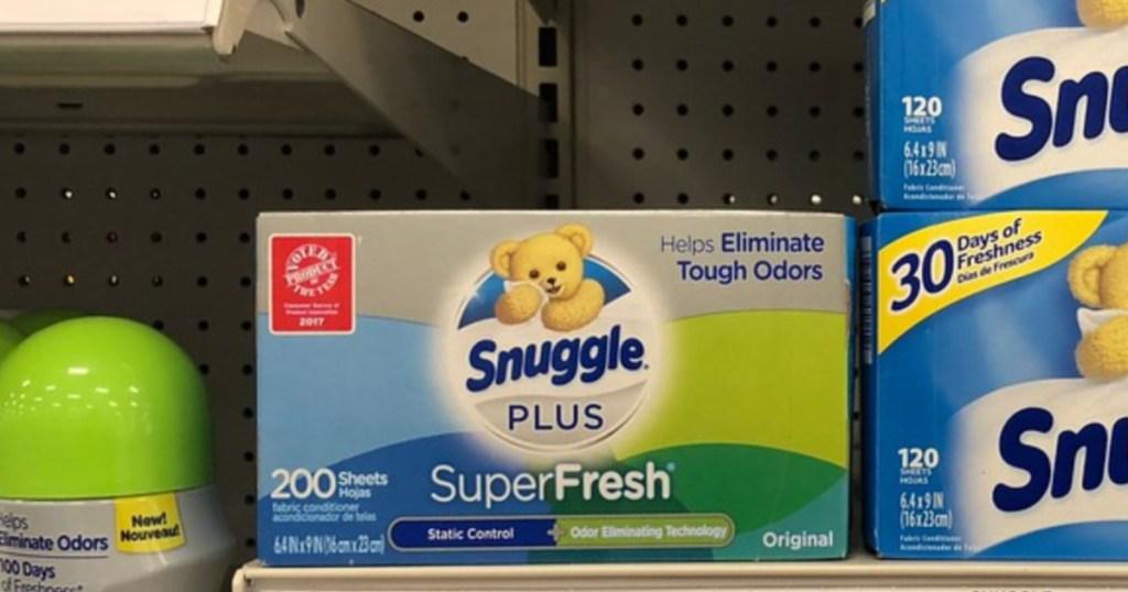 snuggle super fresh dryer sheets on store shelf
