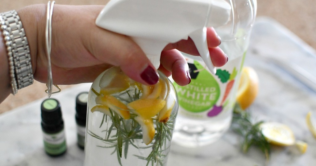 spray bottle with essential oil cleaner