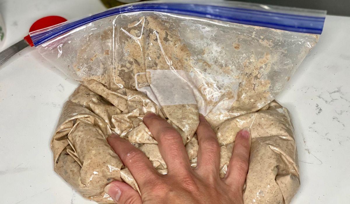 A hand squishing bread dough in a freezer bag