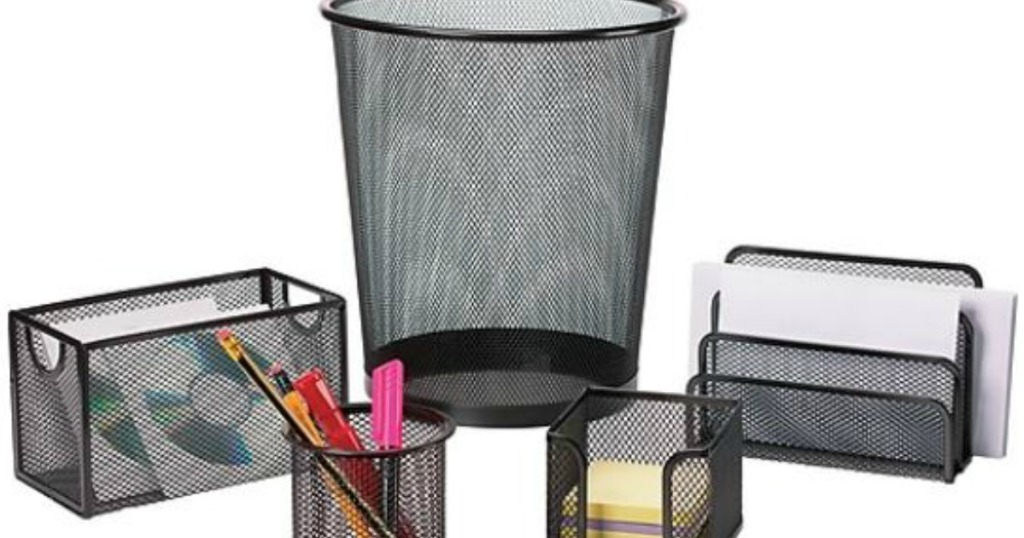 black baskets with pens and papers in it