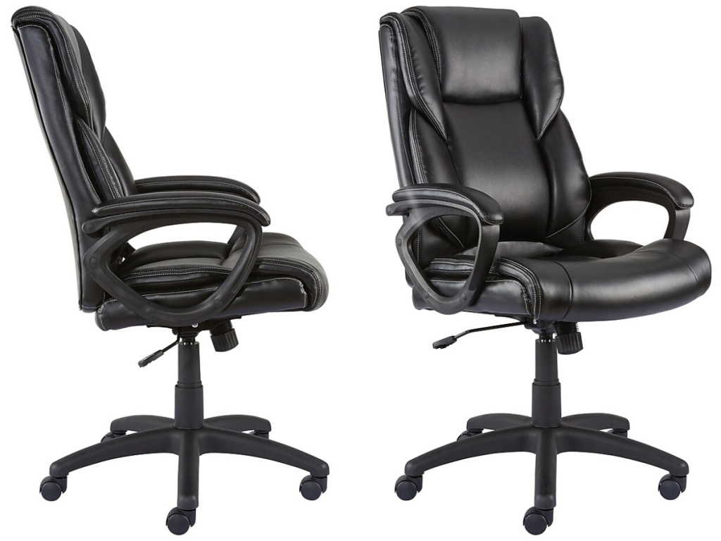 side and front view of black office chair