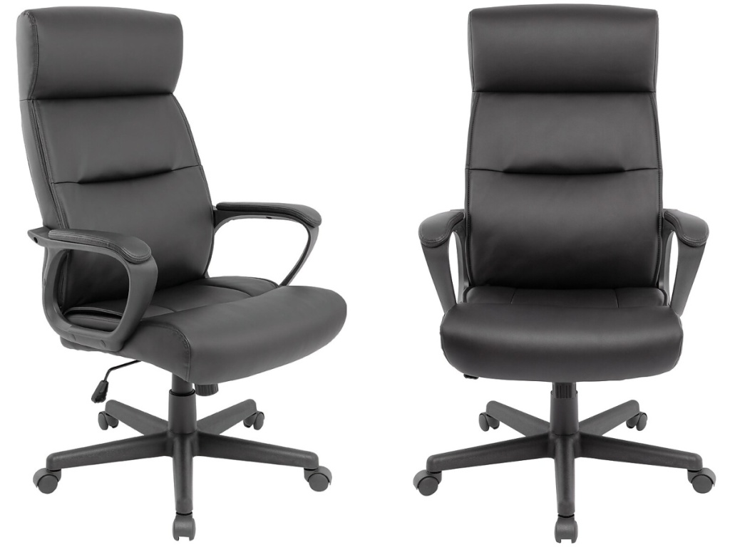 side and front view of black office chairs
