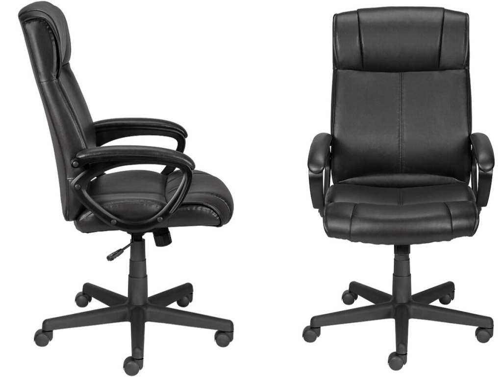 side and front views of black office chairs