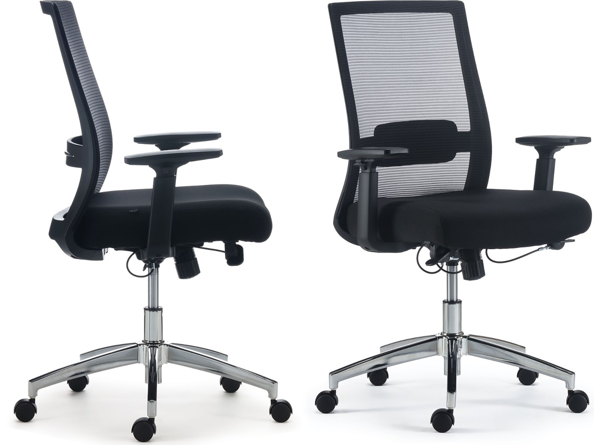 side and front view of office chair