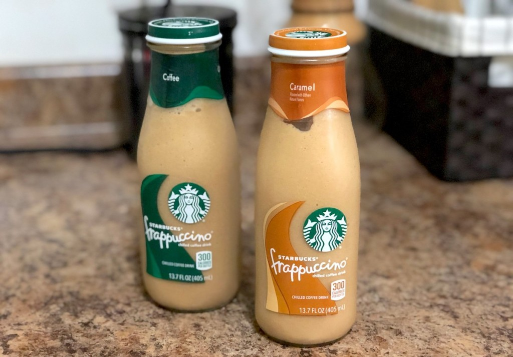 two bottles of different flavor starbucks frappuccino coffee drinks