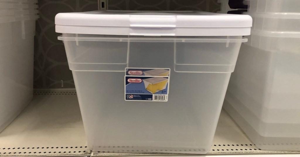 storage bins on shelf