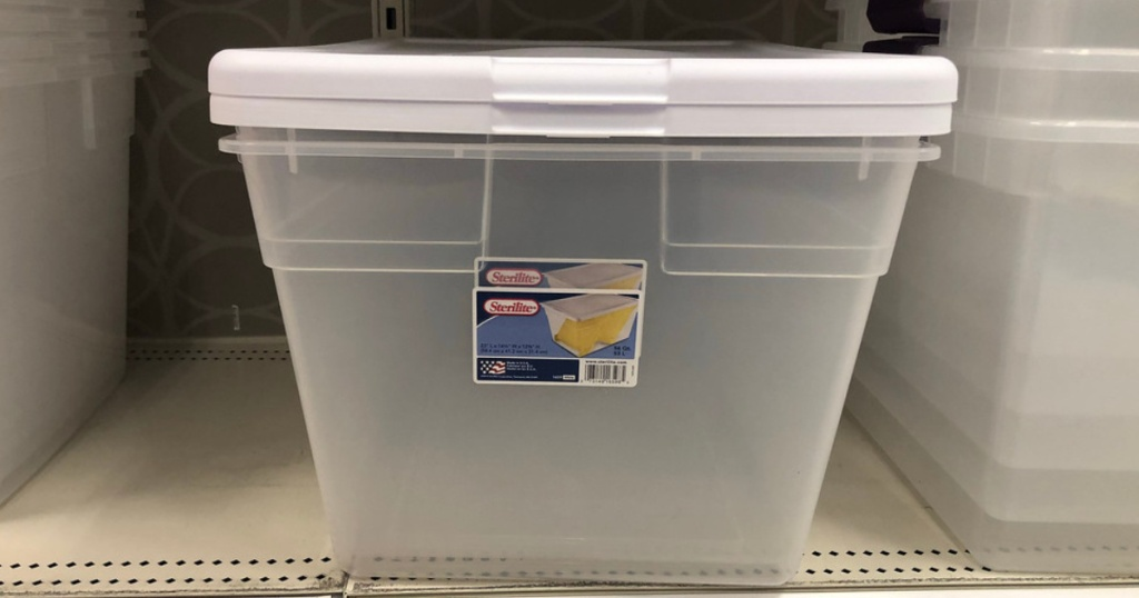 storage bins on shelf
