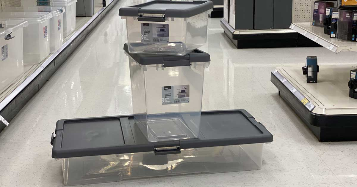 storage bins stacked on each other on the store's floor
