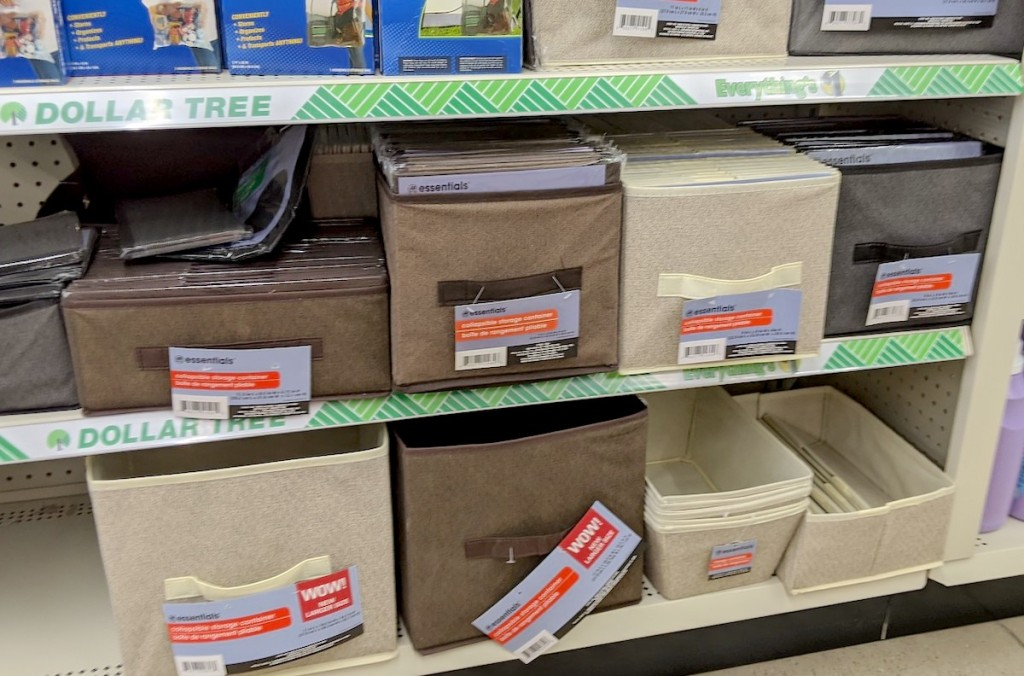 aisle of canvas storage container bins