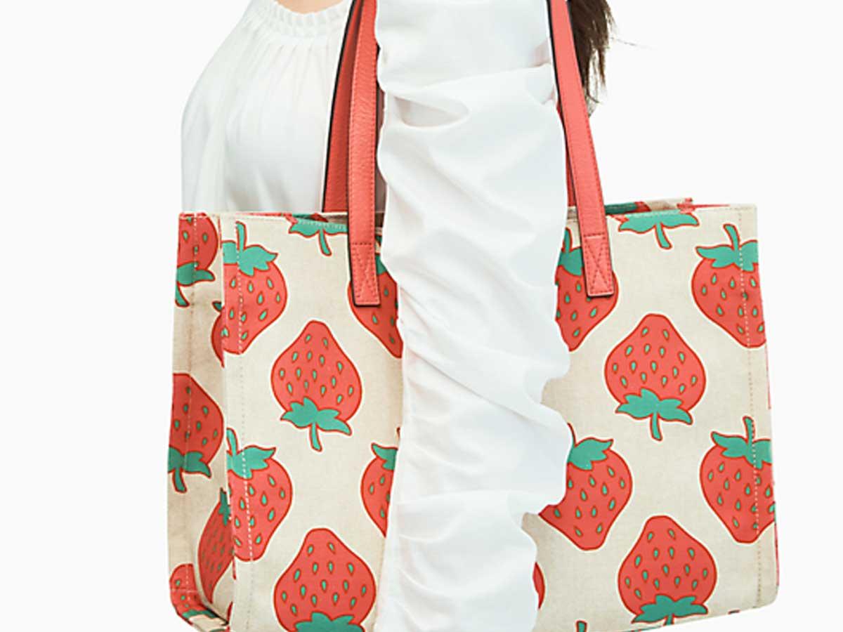 strawberry print tote bag