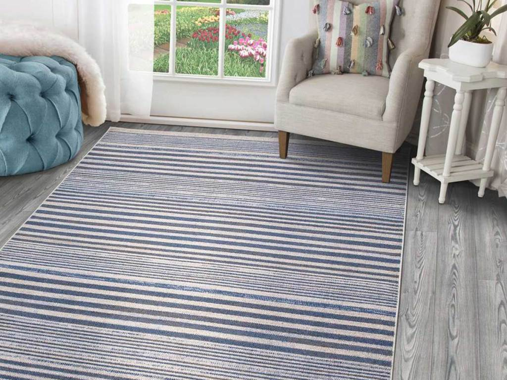 blue and white striped area rug in a living room