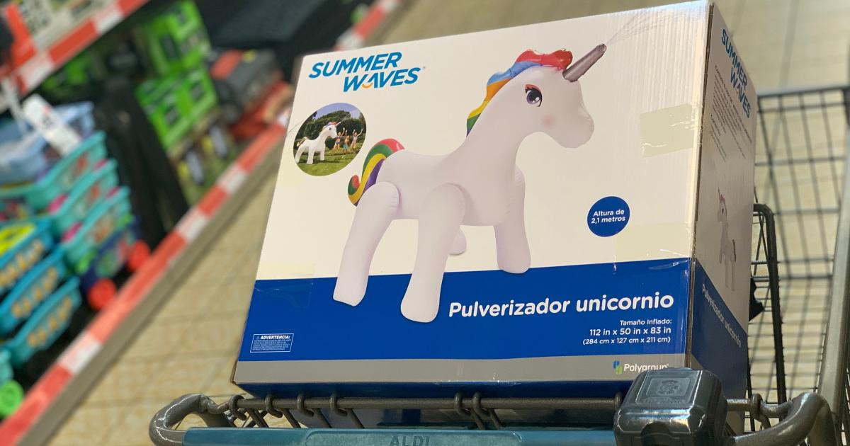 summer waves unicorn sprinkler box in aldi cart