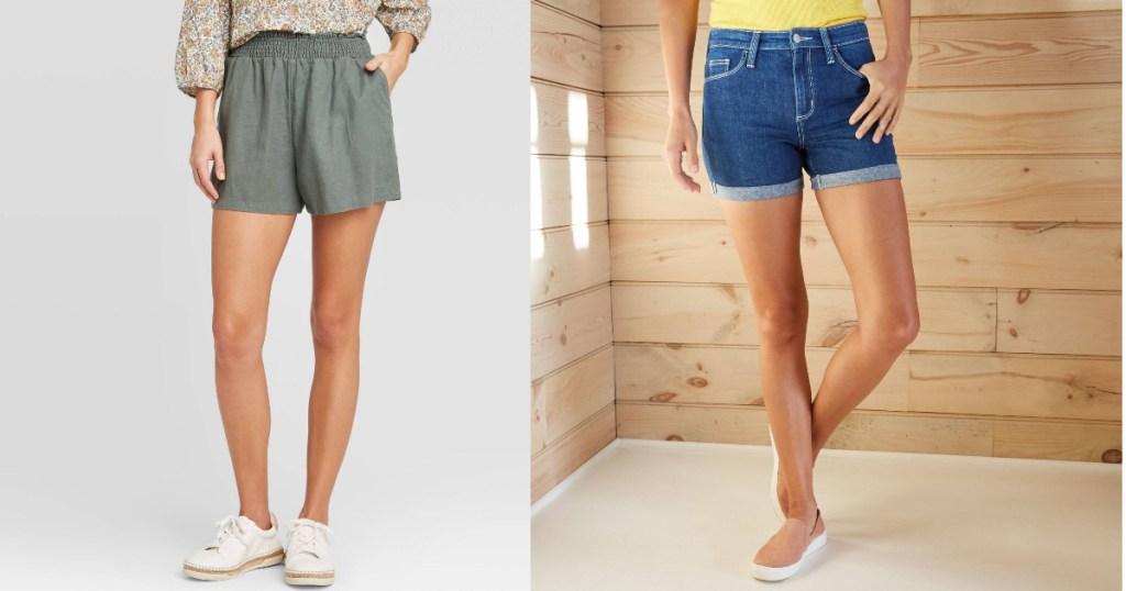 women wearing green shorts and jean shorts