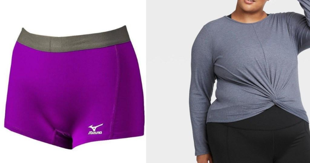purple shorts and gray twist shirt