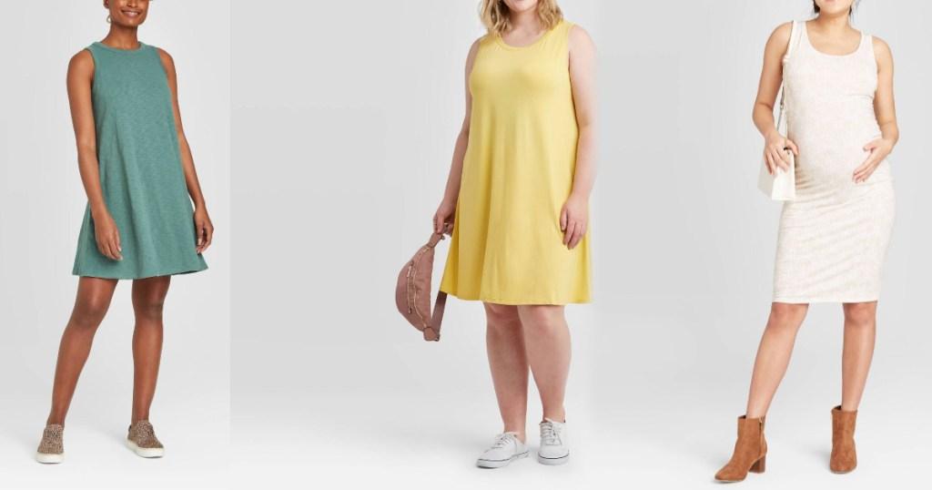 women wearing mint dress yellow dress and white maternity dress