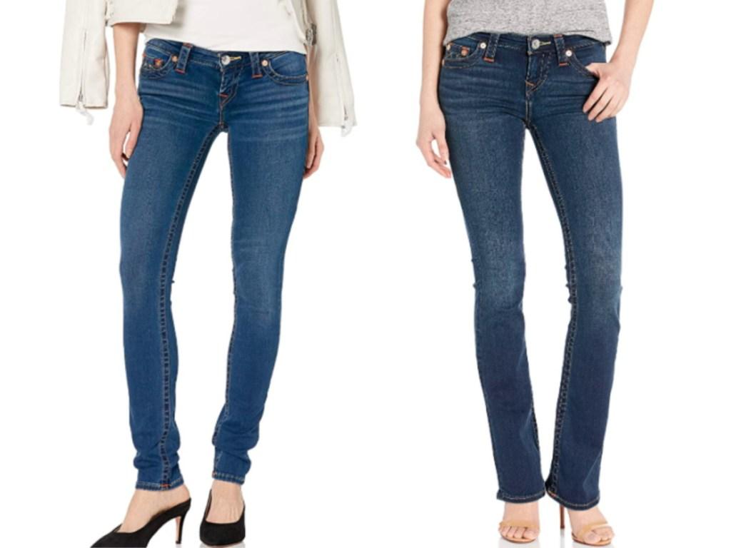 women wearing denim jeans and heels