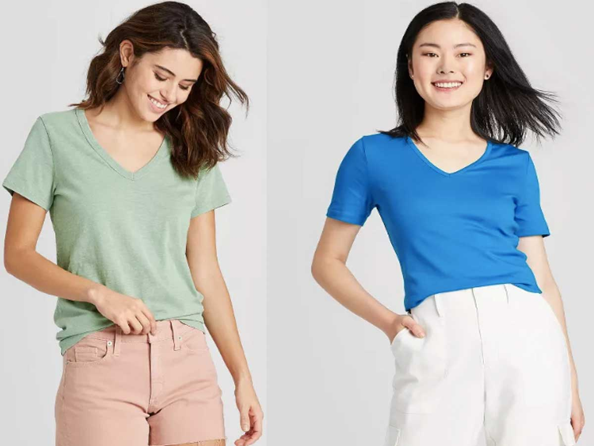 models wearing colored tshirts