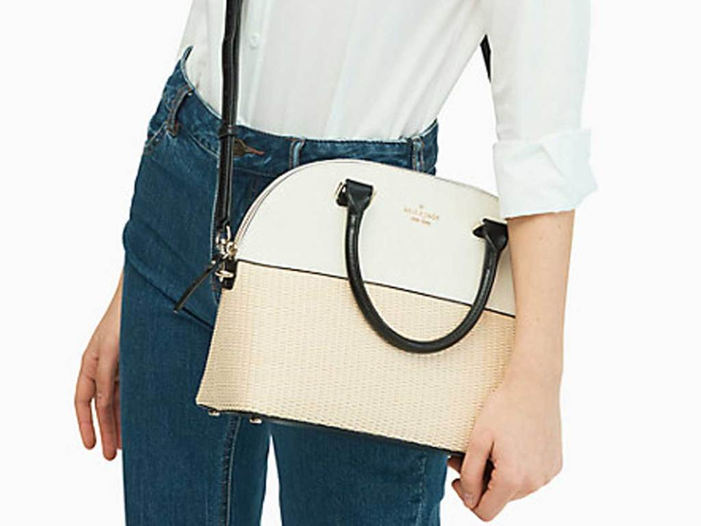 purse with half leather and half wicker