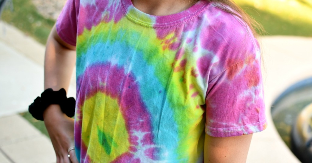 tie-dye shirt on after drying
