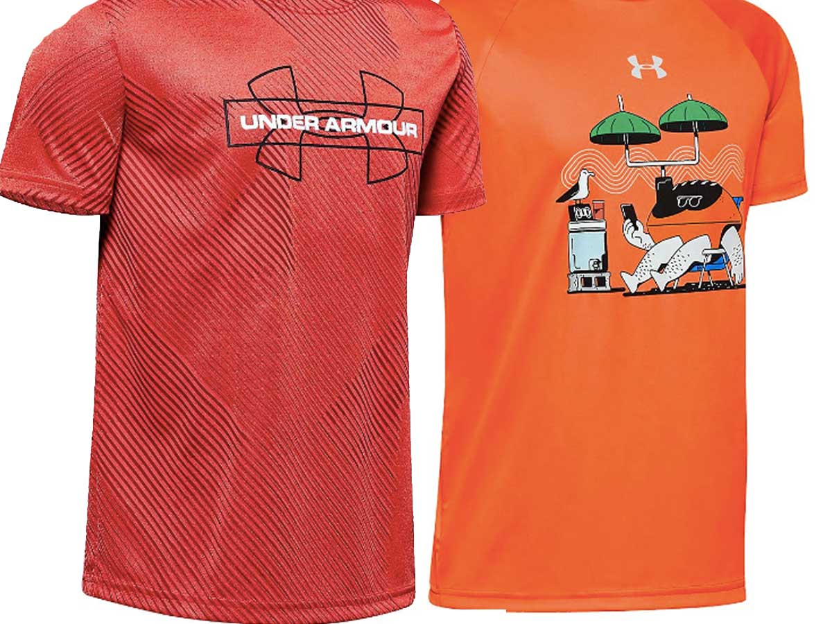 under armour two tees boys red and orange