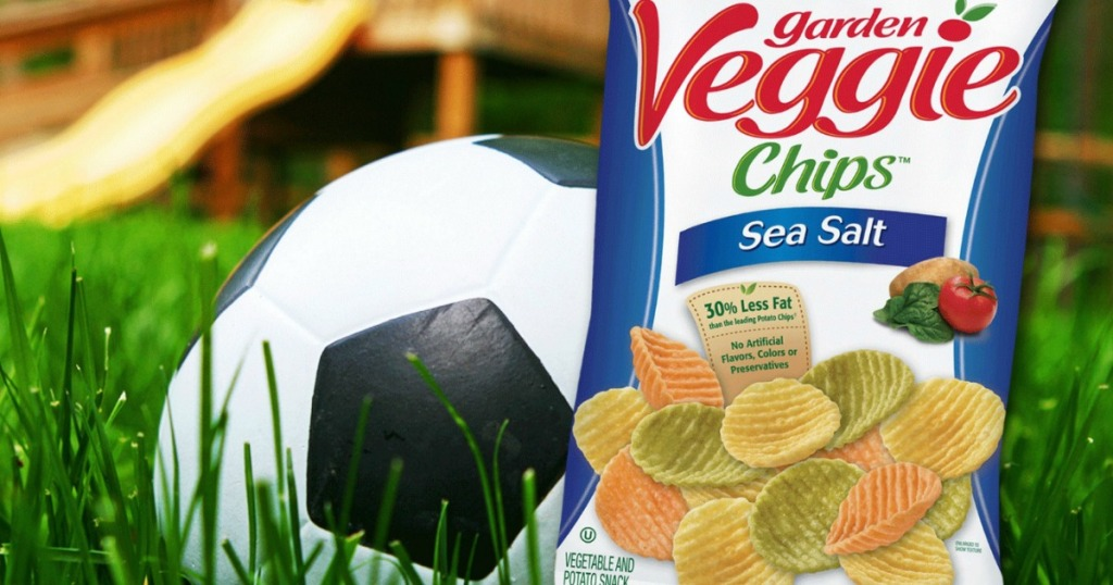 veggie chips next to a soccer ball