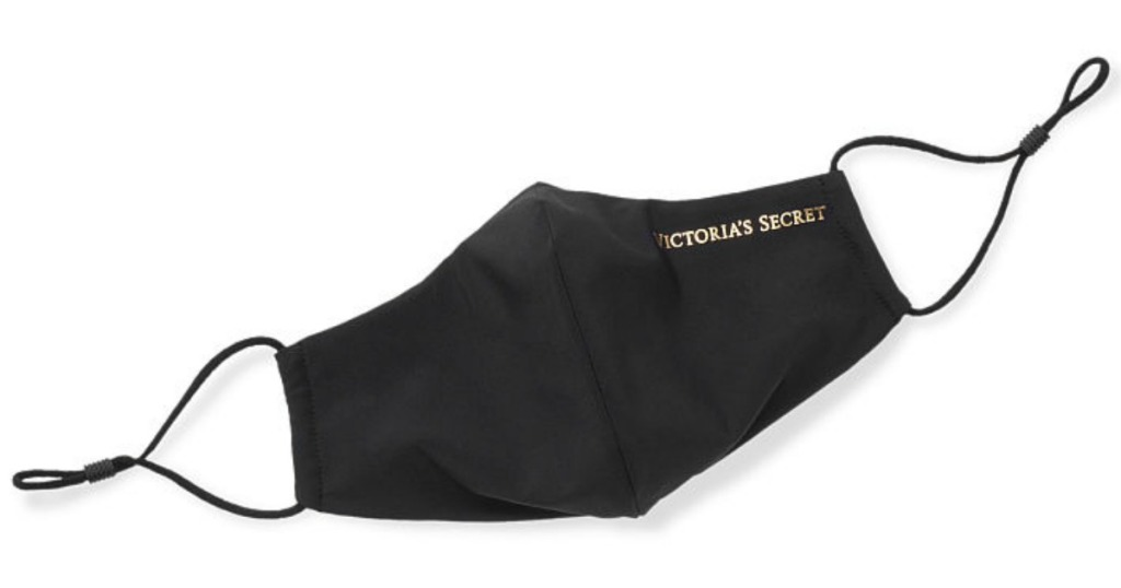 black reusable facemask with gold victoria's secret writing