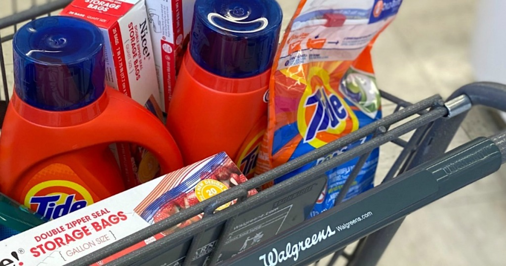 tide laundry detergent in Walgreens shopping cart