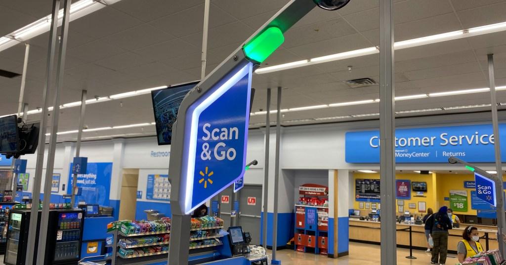 Walmart self-checkout sign