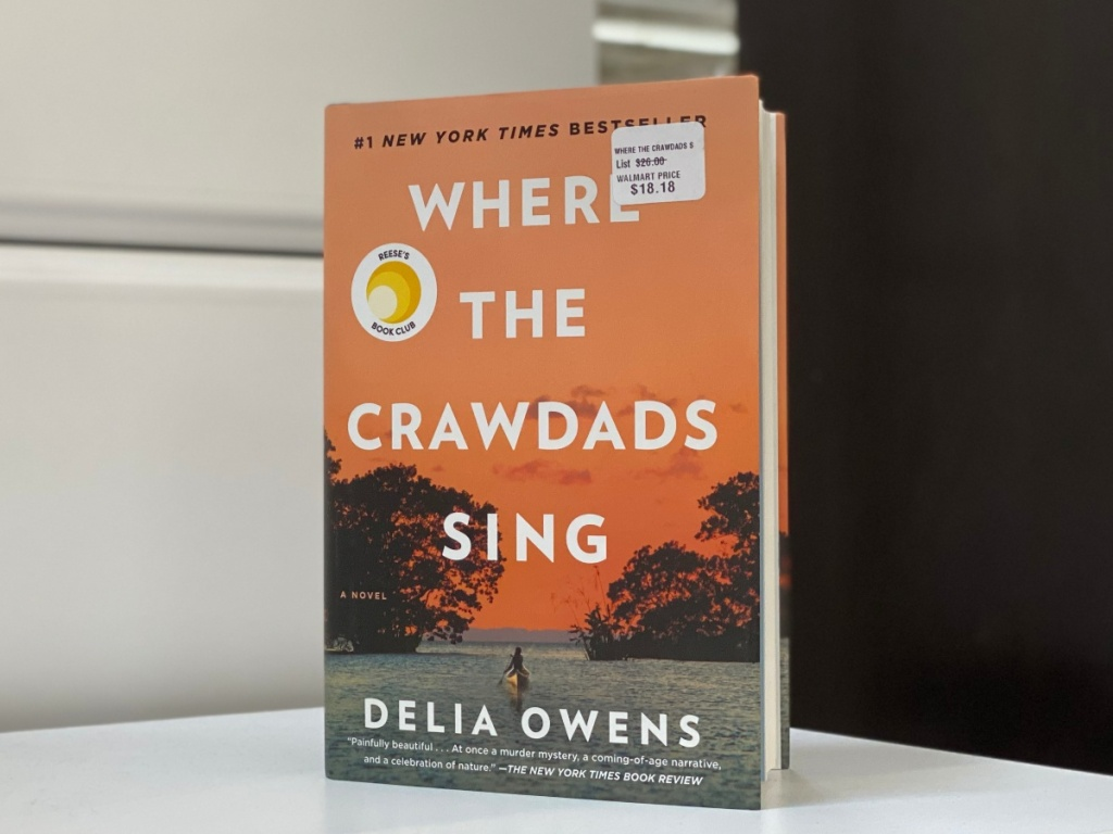 Where the Crawdads Sing book standing on white dresser