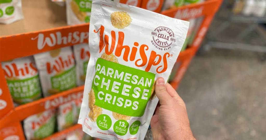 whisps parmesan cheese crisps in hand