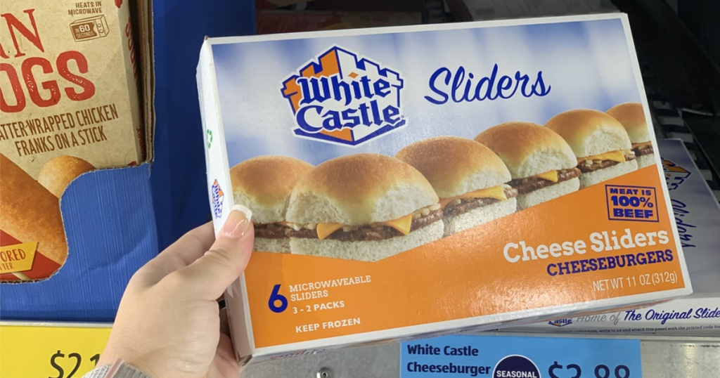 white castle sliders in hand