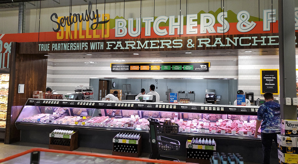 butcher meat counter at whole foods