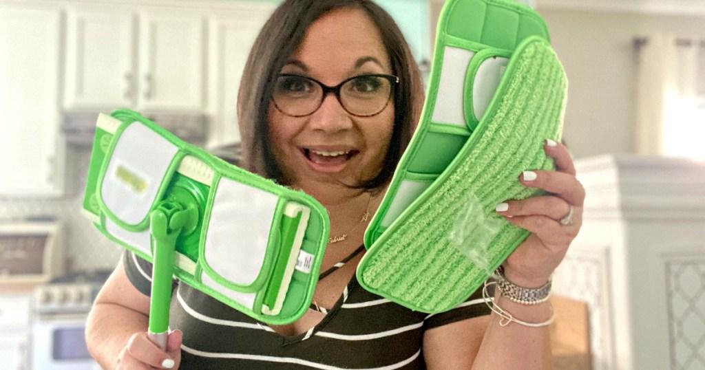 woman holding turbo swiffer pads