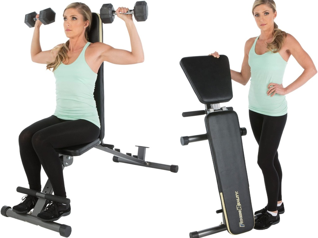 woman using the Fitness Reality 1000 'Super Max' Weight Bench and standing next to it