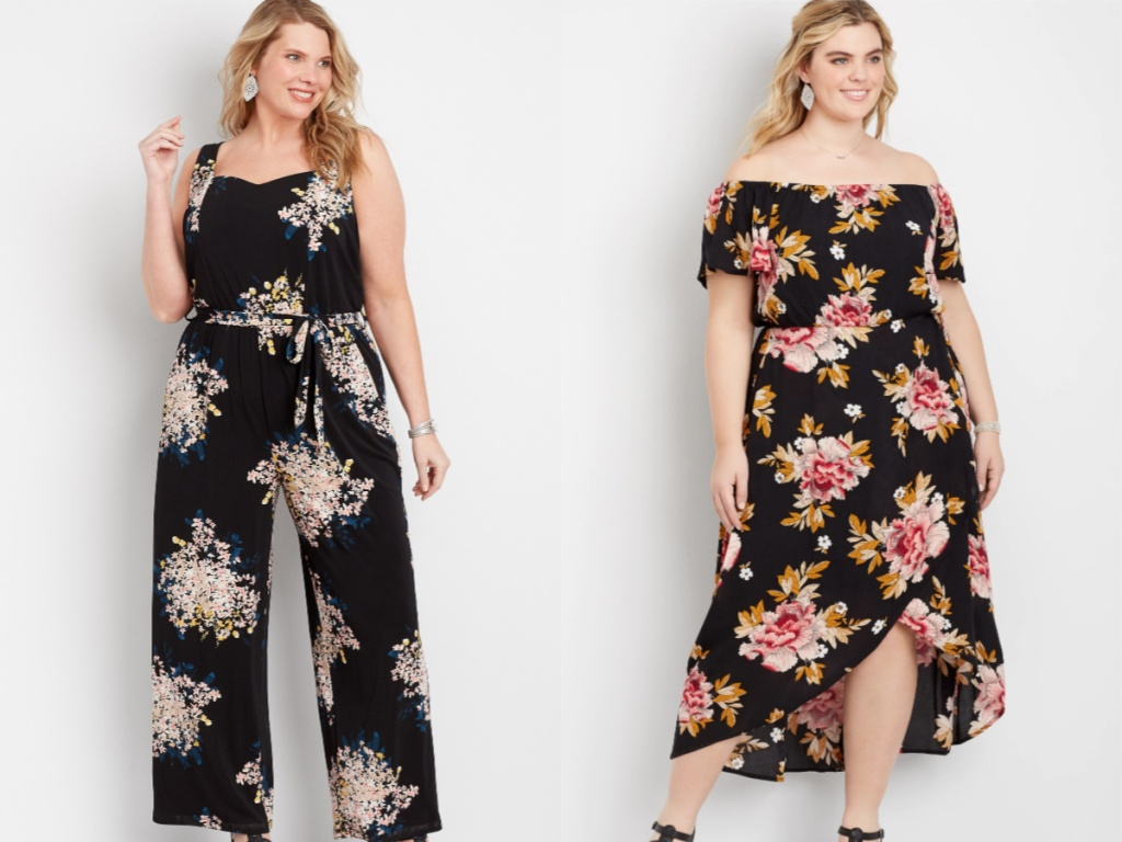 woman wearing a black jumpsuit and a flowered maxi dress