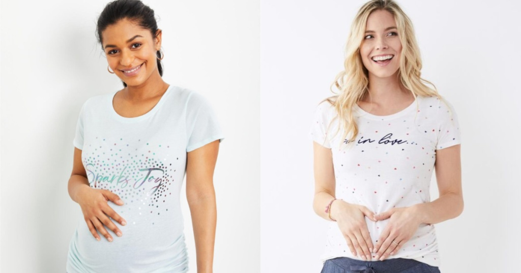 women wearing graphic maternity tees