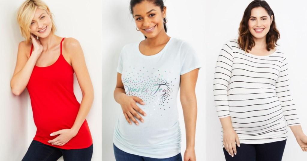 women wearing maternity tops
