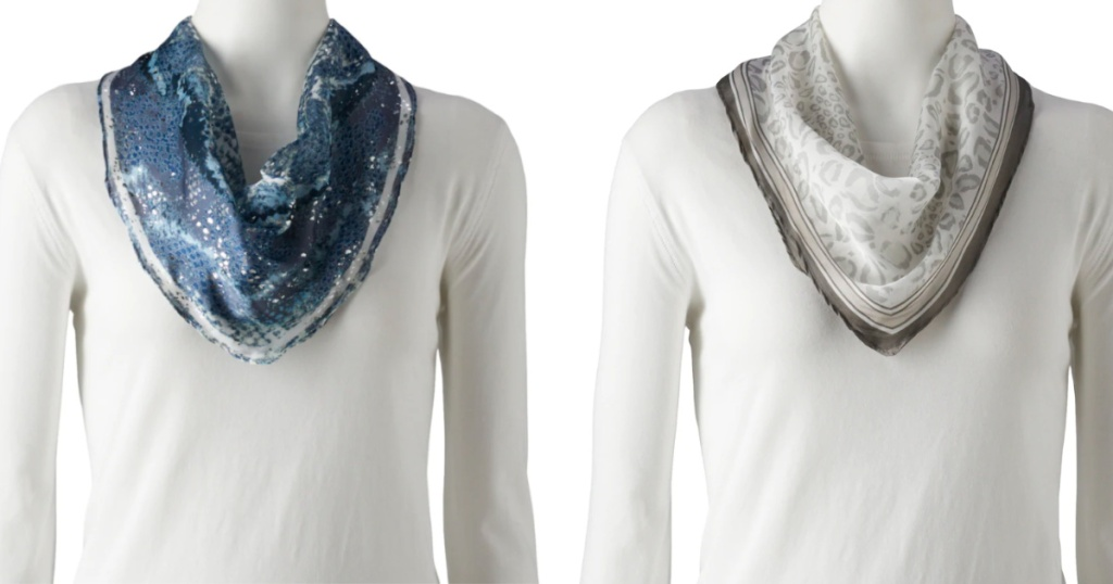 womens blue scarf and gray scarf