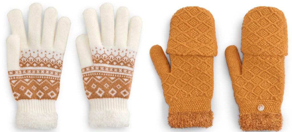 white and mustard mittens