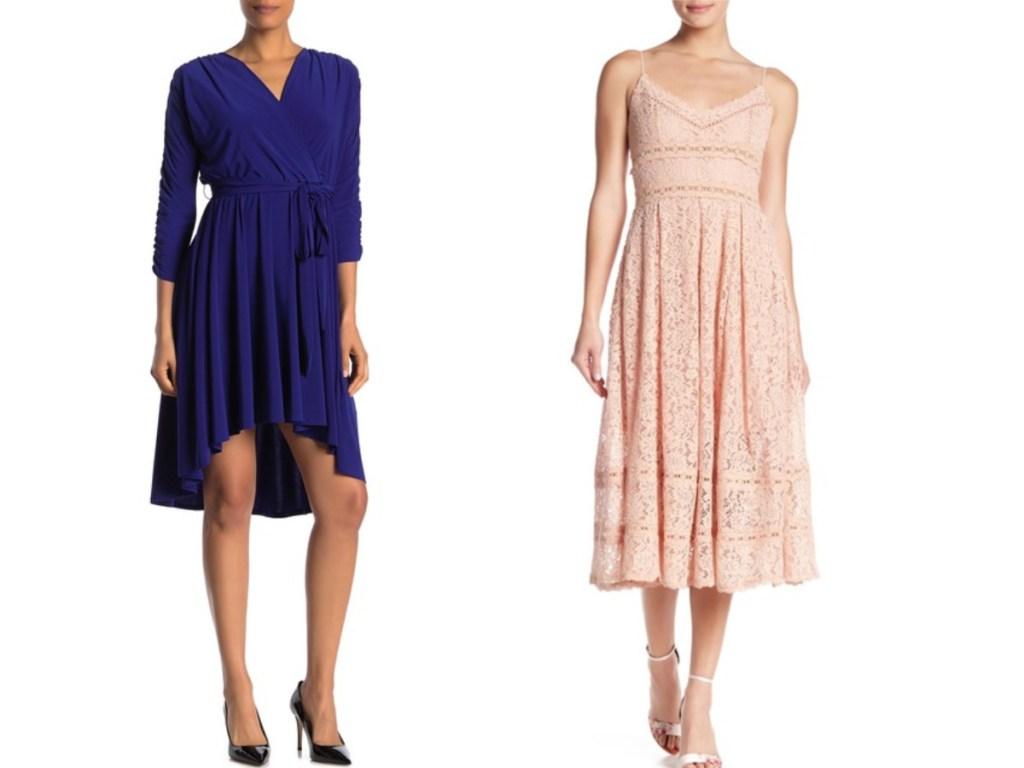 women in purple dress and pink ruffle dress