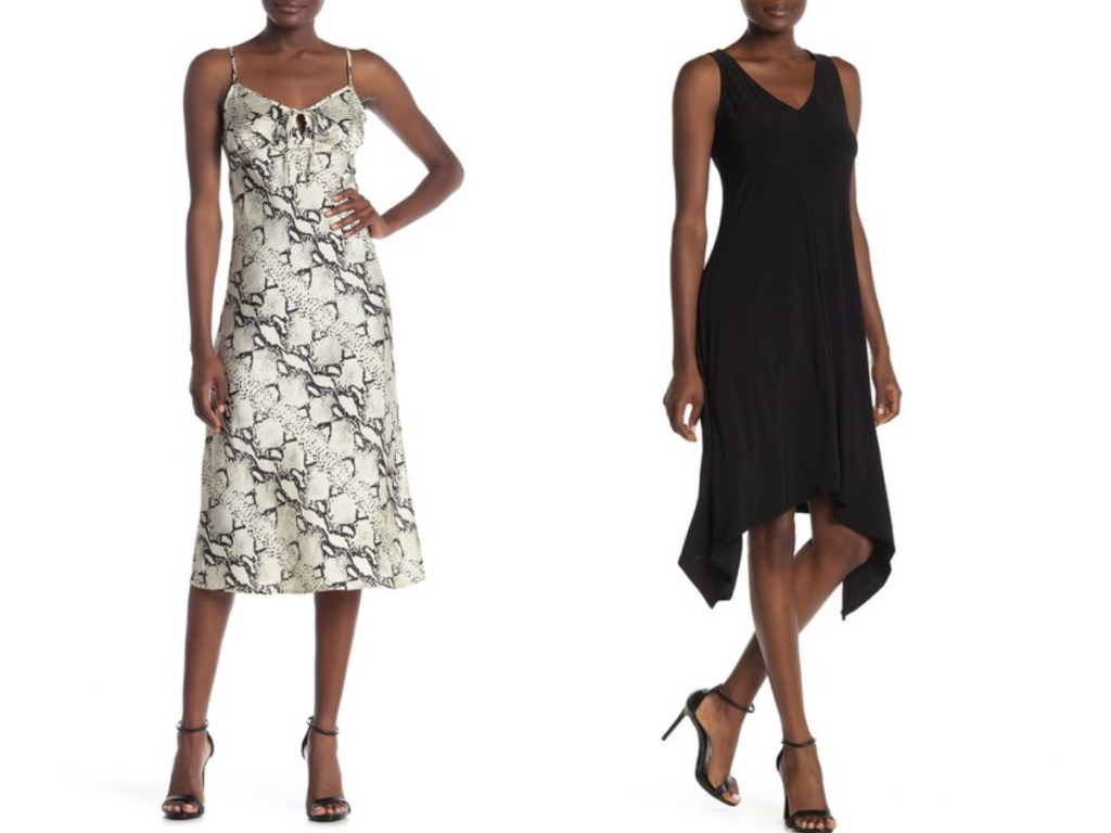 woman modeling snake skin dress and black dress