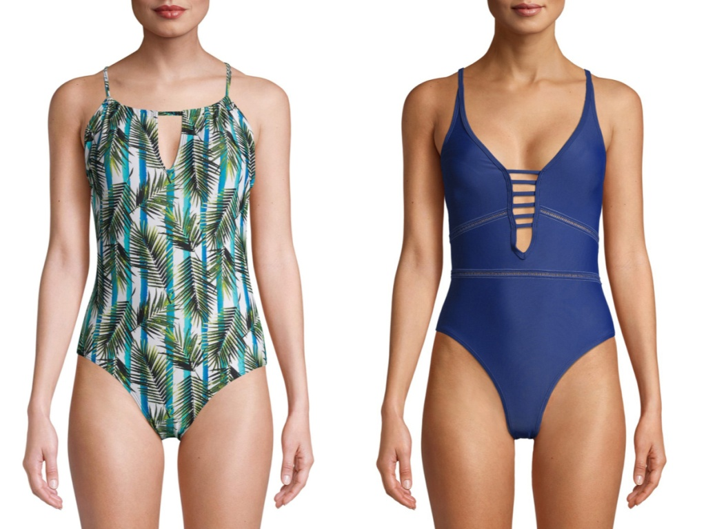 one piece palm print swimsuit and navy swimsuit