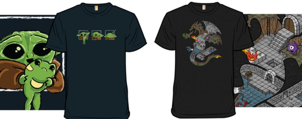 alien and dungeons and dragons tees