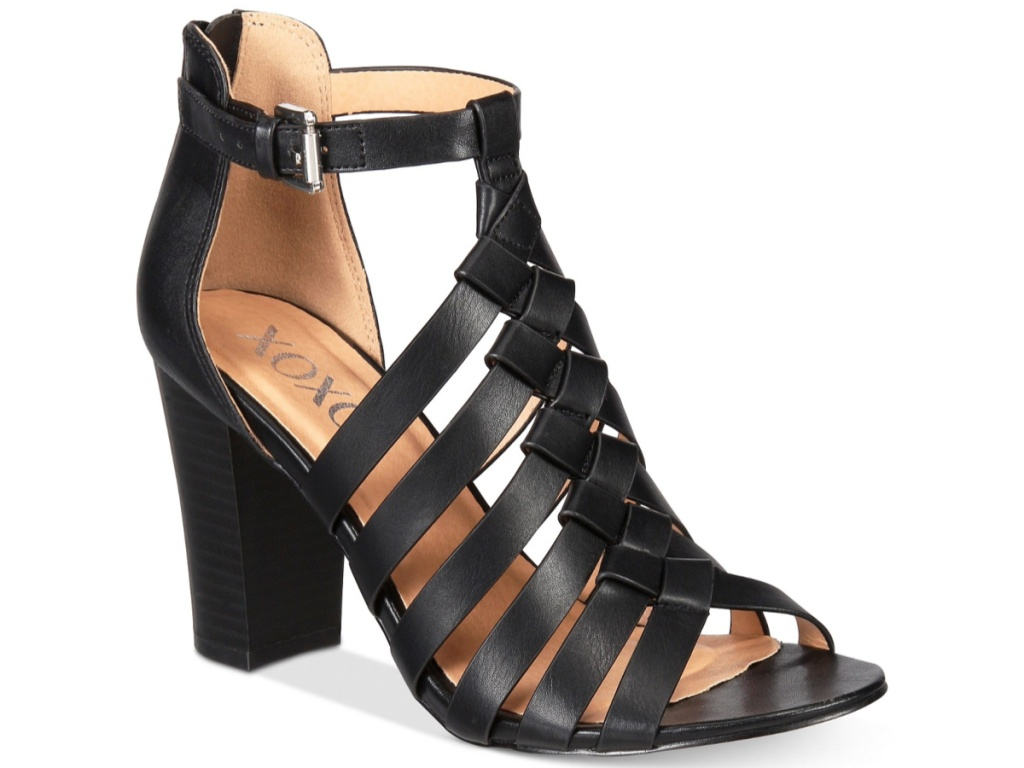 black open-toed black sandals with ankle strap and block heel