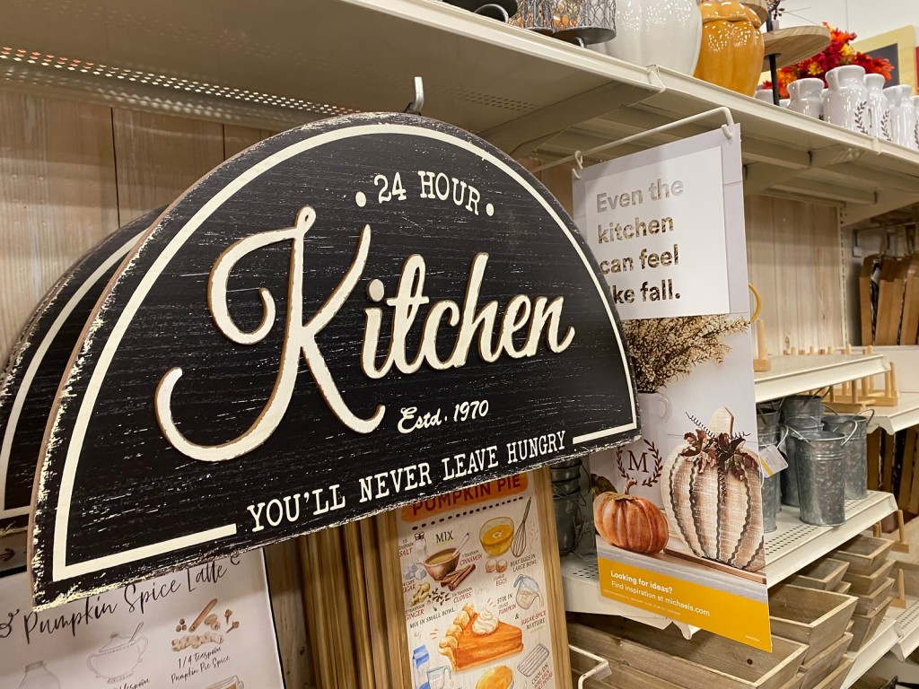 24 hour kitchen Sign hanging in Michaels