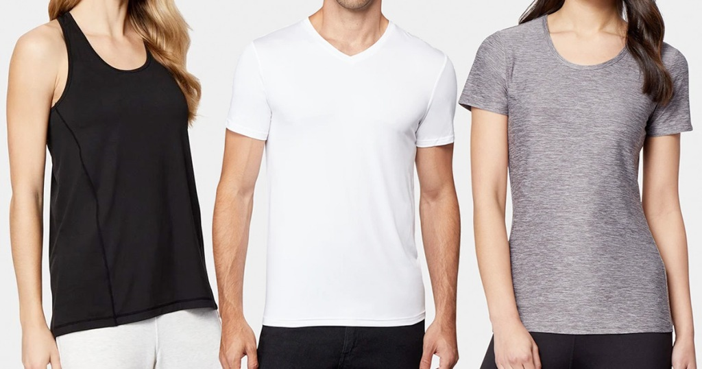 women modeling black tank, man in white tshirt, and woman in grey tshirt