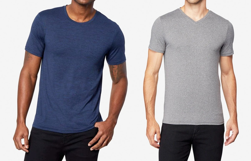 two men modeling dark blue and grey tshirts